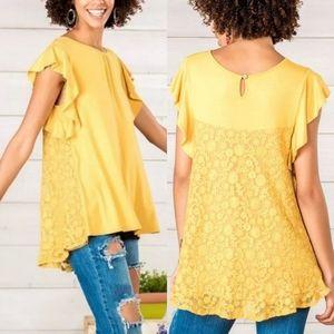 Matilda jane mustard yellow bocce ball lace top